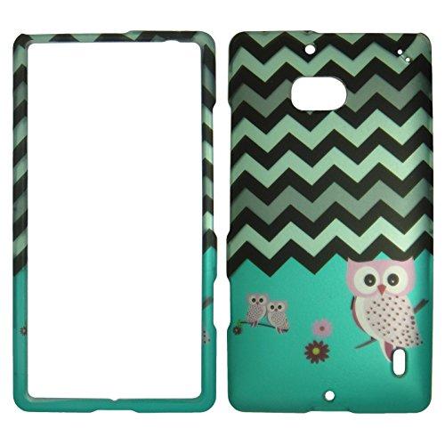 2D Grey Green Chevron Owl Nokia Lumia Icon 929 Verizon Case Cover Hard Phone Case Snap-on Cover Rubberized (Nokia Icon Verizon)
