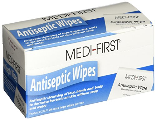Medi-First Antiseptic Wipes, Benzalkonium Chloride Cleansing Towelettes,