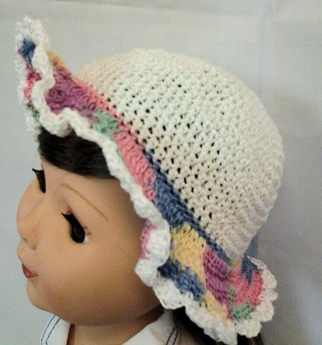 Summer Floppy Doll Hat White with Multi-colored Brim Granny/'s Knots