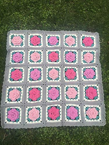 Handmade Crochet blanket, granny square multicolor blanket, 3D rose petals, throw blanket