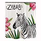Pink and White Chevron Shower Curtain Orange Design Animal Watercolor Zebra Shower Curtain Hooks 71''x71'' Tropical Leaves Pink Flowers Black White, Mildew Resistant Fabric Kids Home Bathroom Decor Accessories