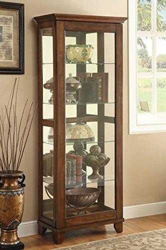 5-Shelf Curio Cabinet with Mirrored Back Chesnut - Curio Cabinet Wood
