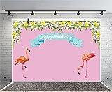 Leyiyi 10x6.5ft Cartoon Flamingo Photography Backdrop Spring Garden Flowers Flora Blossom Flower Petals Garland Vane Leaves Background 1st Birthday Banner Baby Shower Photo Portrait Vinyl Studio Prop