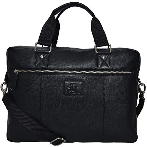 Gloves Leather Bag Padded (Geniuine Leather Messenger Laptop Bag- Premium Office Briefcase Professional work College Mens Womens Side Bags (Black pebble)…)