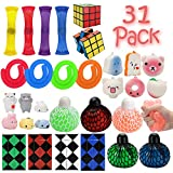 R.HORSE 31 Pack Fidget Toy Set Stretchy Strings/Grape Ball/Mesh and Marble Toy /Mochi