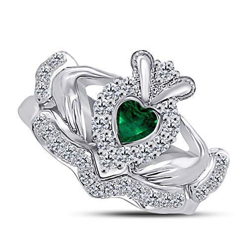 14k Gold Plated Sterling Silver Claddagh Ring Bridal Set with Heart Emerald and Simulated - Claddagh Set Ring Emerald