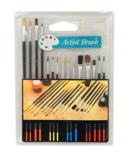 Zen Art Supply ARTIST PAINT BRUSH SET 15 Pc All Purpose Oil