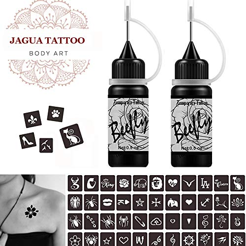 Beefly Jagua Temporary Tattoos Kit, Jagua Gel Semi Permanent Tattoo Freehand Gel/Ink (Organic Jagua Fruit Based) Dozens Pcs Free Stencils,DIY Tattoos Fake Freckles, Full Kit 2 Bottles(1oz)