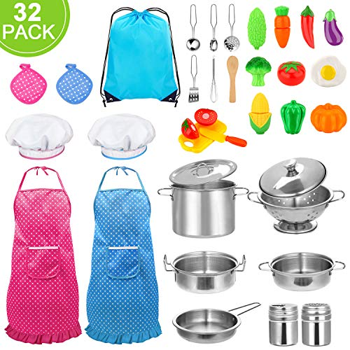 32pcs Kids Kitchen Pretend Play Toys Toy Kitchen Set with Stainless Steel Cooking Utensils Cookware Pots and Pans Set Healthy Vegetables, Knife, Little Chef for Toddlers & Children Boys Girls
