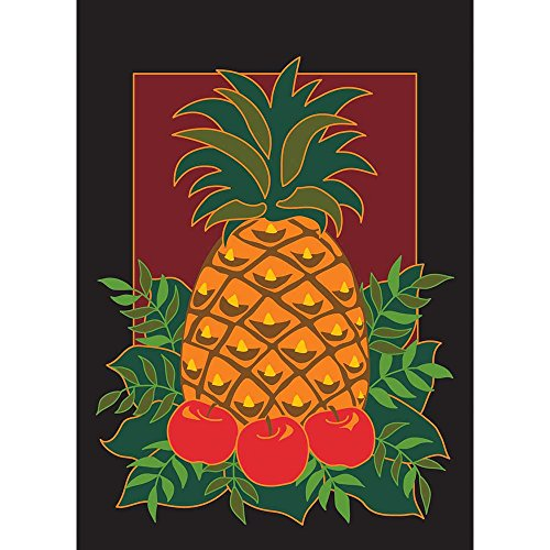 Leafy Pineapple And Apples Maroon With Black Trim 30 x 44 Large House Flag