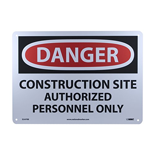 """NMC D247RB OSHA Sign,""""DANGER CONSTRUCTION SITE AUTHORIZED PERSONNEL ONLY"""", 14"""" Width x 10"""" Height, Rigid Plastic, Black/Red On White"""