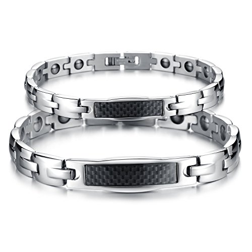 Fate Love His & Her Matching Set Carbon Fiber Magnetic Energy Bracelets,Health Care Link Chain for Couple by Fate Love (Image #8)