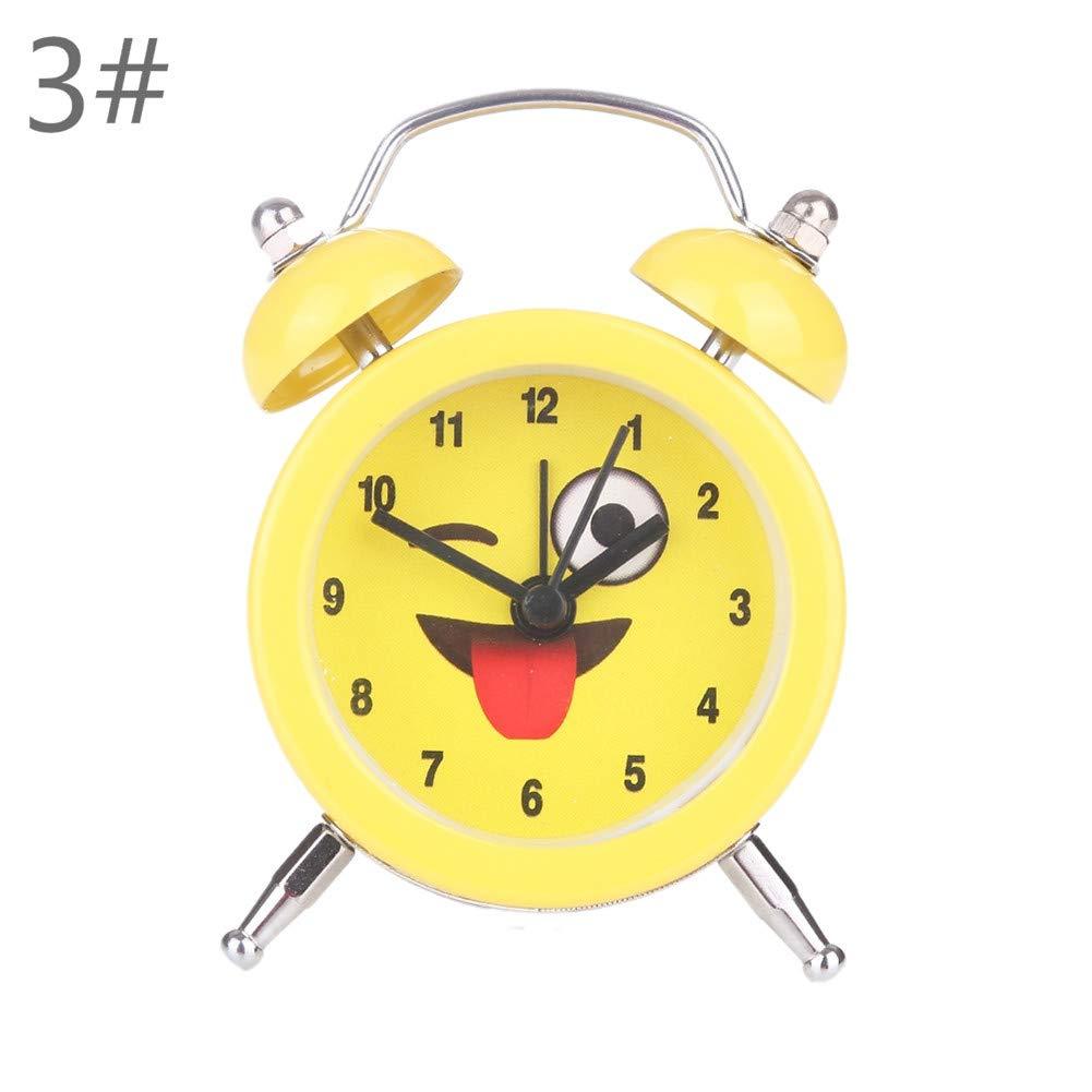 RENNICOCO Twin Bell R/éveil Enfants Mignon Dessin Anim/é R/éveil en M/étal Twin Bell Silencieux De Bureau Horloge /À Quartz Analogique Voyage Horloge avec Veilleuse