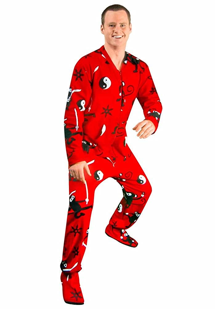 Ninja Monkey Flannel Drop Seat Footed Pajamas with Butt Flap ...