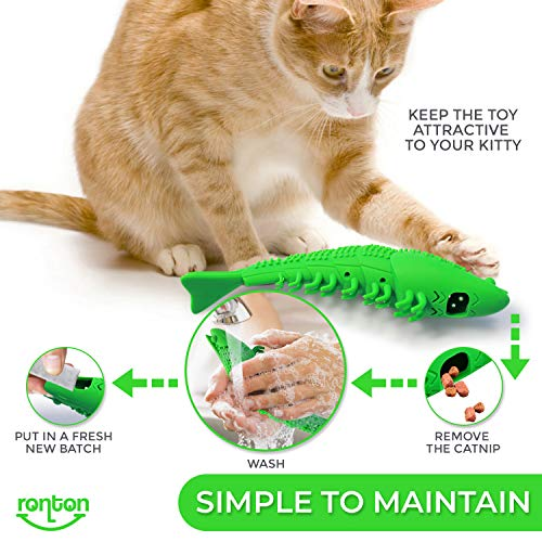 Ronton Cat Toothbrush Catnip Toy - Durable Hard Rubber - Cat Dental Care, Cat Interactive Toothbrush Chew Toy, Refillable Catnip Kitten Teaser Toy with Bell 7