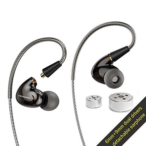 Driver Pro In Ear Earphones - Tennmak Pro Dual Dynamic Driver Detachable Sport Earhook Detachable In Ear Earphones, MMCX Earphone with 4 drivers (BLACK NO MIC)