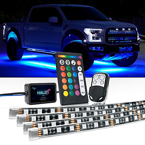 MICTUNING Car LED Underglow Lights, 4Pcs Multicolor Neon Accent Lights Strip Dual Wireless Remote Control Sync with ()