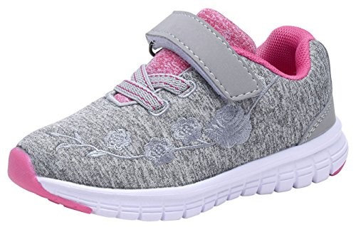 G GEERS OS002 Toddler Running Sneakers Little Girl's Colorful Mesh Shoes Grey-8