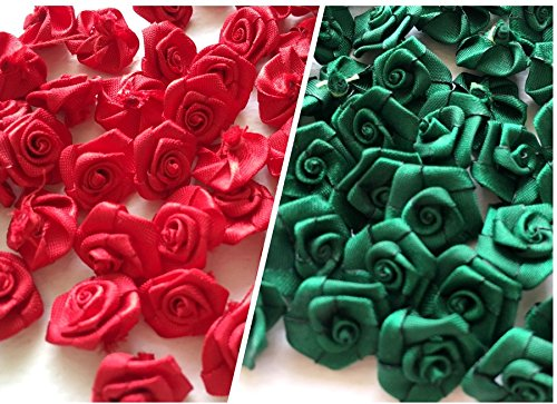 (100 Assorted Tiny Satin Ribbon Rose Bows Christmas Style Diameter 10 mm. Tiny Embellishment Craft Artificial Applique Wedding)