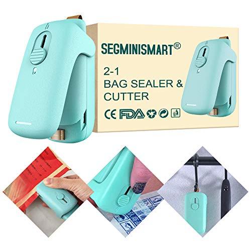 Bag Sealer, Bag Heat Sealer, Handheld Heat Sealer, 2 in 1 Heat Sealer and Cutter Portable Bag Resealer Sealer Quick Seal for Plastic Bags Food Storage Snack Fresh Bag Sealer (Battery Not Included)