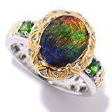 Michael Valitutti Palladium Silver Oval Ammolite Triplet & Chrome Diopside North-South Ring