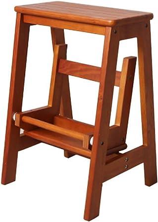 ChenXiDian-Super fuerte 2 peldaños, peldaño de madera maciza, escalera de tijera, escalera plegable, estante de flores de madera for interiores for adultos, bastidores de plantas, herramienta de traba: Amazon.es: Hogar