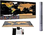 ZaloocOutlet Scratch Off World Map Poster – Traveler's Kit Guide with 195 countries flags. Includes Scratcher, Travel Stickers, Magnifier, Scratch pen, Eraser, Pouch, and cleaning cloth. 32.5X23.4