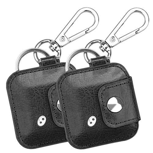 [2 Pack] Fintie Tile Mate/Sport/Style Case with Carabiner Keychain, Anti-Scratch Vegan Leather Protective Skin Cover for Tile Mate (2016), Tile Sport, Tile Style Key Finder Phone Finder, Black