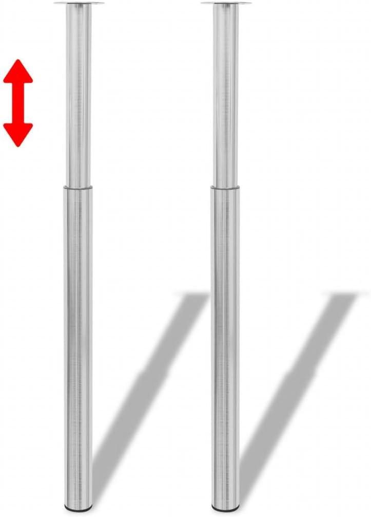 UnfadeMemory 2 Pack Patas para Mesa Regulables en Altura 710mm-1100mm,Patas Extensibles de Mesa,Patas de Repuesto para Barras de Mesas,Desayuno,Encimeras,Escritorios,Hierro (Níquel Pulido)