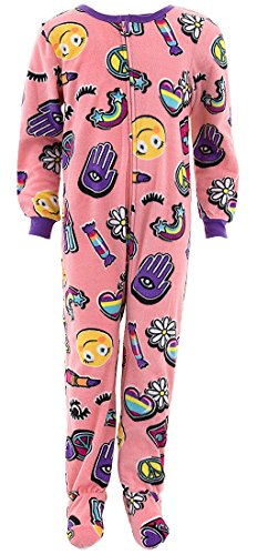 (Komar Kids Girls' Big Plush Velour Fleece Footed Blanket Sleeper Pajama, Denim Patches, L)