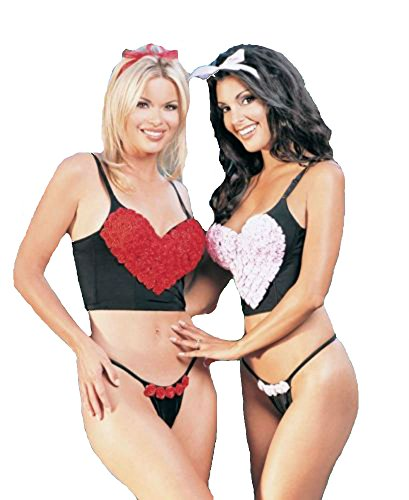 Valentine's Day Rosy Heart Underwire Bustier Sexy Lingerie Intimate Apparel With Push Up Pad And Boning (Black/Pink;Large) ()