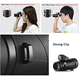 Ueasy Waterproof 12x50 High Powered Monocular Side Hand Strap with Tripod Outdoor Binoculares Sports Telescope