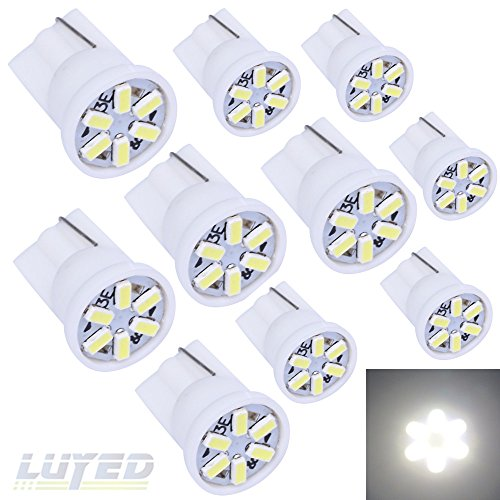 LUYED 10 X 3014 6-EX Chipsets W5W 194 168 2825 Led Bulbs,Xenon White(super low current)