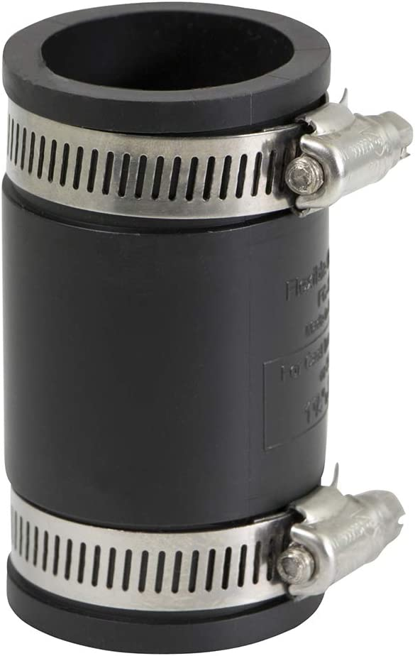 SUPPLY GIANT 6I46 Flexible PVC Coupling With Stainless Steel Clamps, 1-1/2, Black