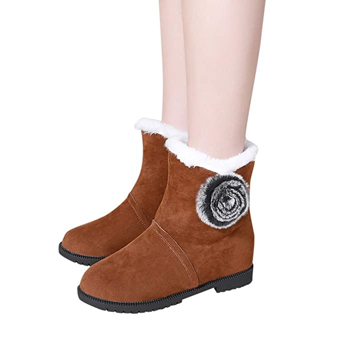 MYMYG Schnee Stiefel Flache Frauen Booties Frauen Flache Solide Mode Winter Warme ... 3b7303