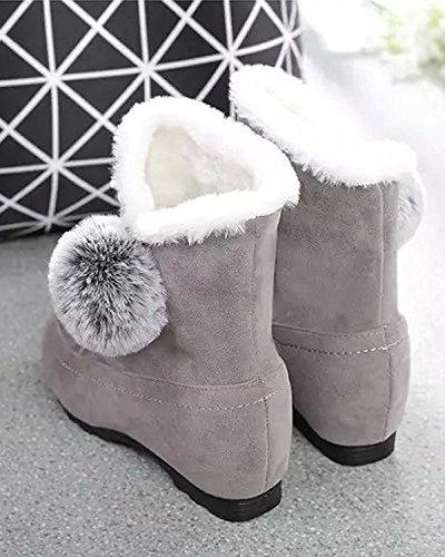 Invierno Creciente Lindo Nieve De Botas Altura Talón Botas Zapatos Minetom Mujer gris Botas Plano Pom Algodón Poms P4wq85t