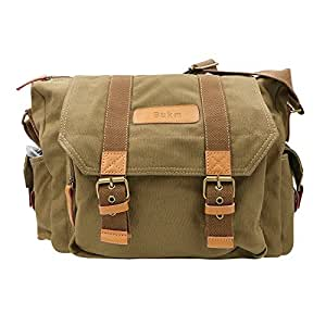 SLR Camera Bag, Bukm Waterproof Canvas Messenger DSLR Camera Shoulder Bag with Shockproof Insert for Digital Cameras, Tablets, Phones, Video Recorder Photography - Khaki Brown