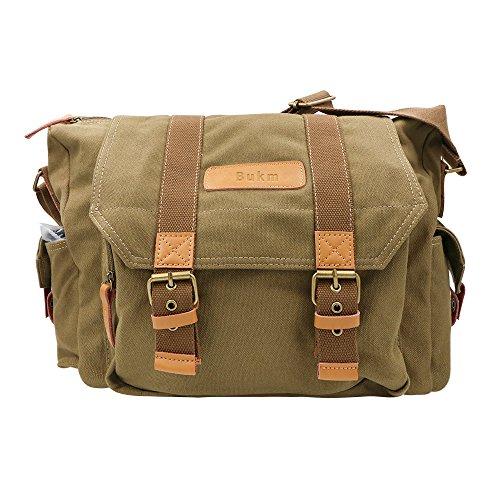 SLR Camera Bag, Bukm Waterproof Canvas Messenger DSLR Camera Shoulder
