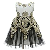 AHAHA 2017 New Style Black Gold Girls Dresses Girls Princess Wedding Party Dress