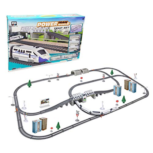 HMANE Set of 86 Simulated High-Speed Rail Trains Tunnels Assembly Track Toy Set Railway Race Set for Kids