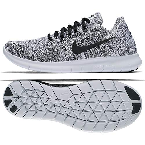 check out d90c8 1e4bc Galleon - NIKE Women s Free Rn Flyknit 2017 White Black Stealth Running  Shoe 8.5 Women US