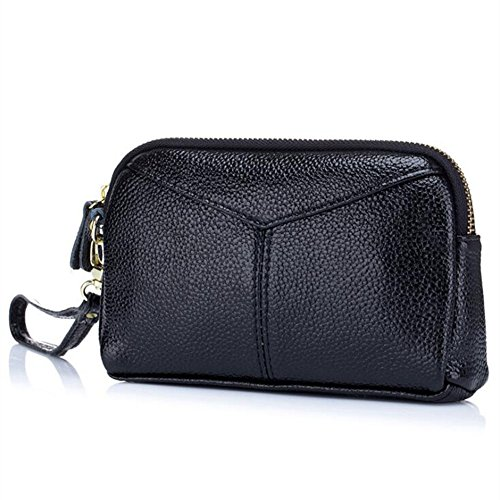 Clutch Women's Black Wrist Bag Handbag DcSpring Leather Genuine with Wallet Purse Small Strap Zipper q5dWOORw