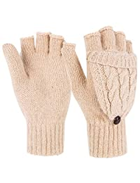 Novawo Tightly Knitted Winter Women Knitted Flip Gloves Warm Mitten with Advanced Weaving Technology