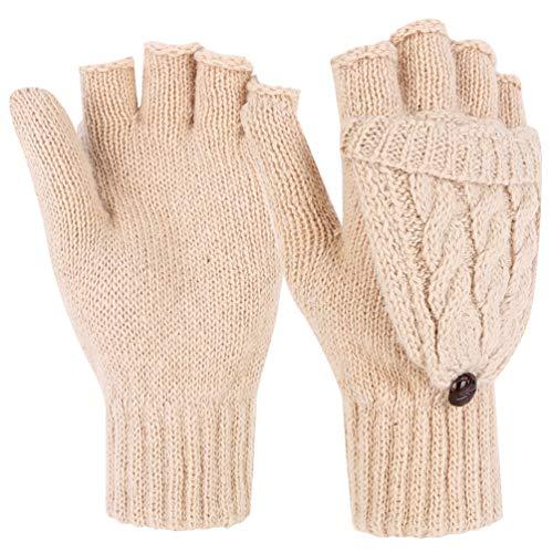(Novawo Fashion Style Women Winter Wool Blend Fingerless Convertible)