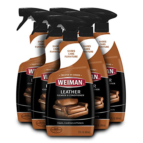 Weiman Leather Cleaner & Conditioner - 22 fl. oz. [6 Pack] Non Toxic Restores Leather Surfaces - UV Protectants Help Prevent Cracking or Fading of Leather Furniture, Car Seats, Shoes, Purses