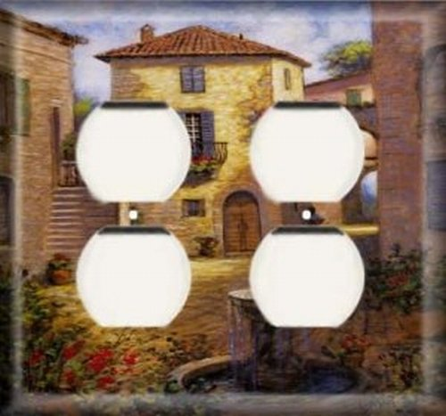 Italy Square - Italy Square - Double Duplex Outlet Light Switch Plate Cover