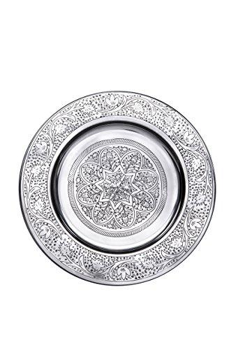 Bandeja oriental redonda hecha de metal Sidra 30cm - Bandeja de te marroqui en el color plata - Decoracion oriental en la mesa de servicio