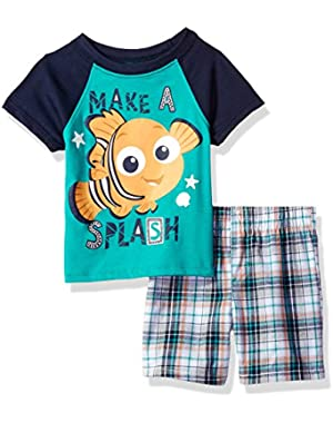 Baby Boys' 2 Piece Finding Nemo Plaid Short Set