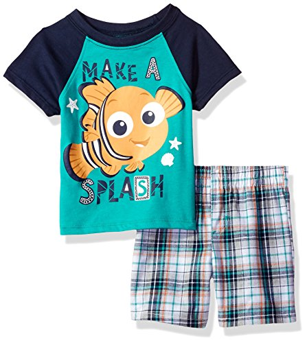 Disney Baby Boys' 2 Piece Finding Nemo Plaid Short Set, Green, (Screen Finding)