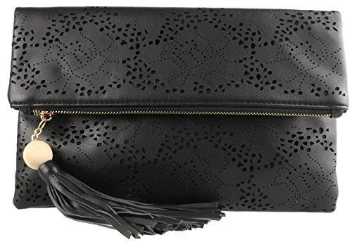 Girly Laser Cut Black Bag Clutch Folded HandBags Errw1